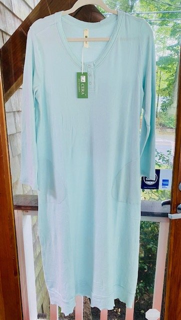 W's Supersoft Snap Nightgown in Mint by La Cera 1553G
