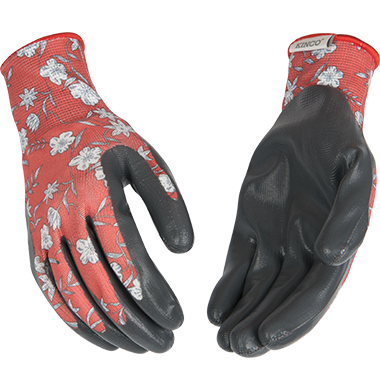1891W W's Latex Palm Garden Glove Coral Floral