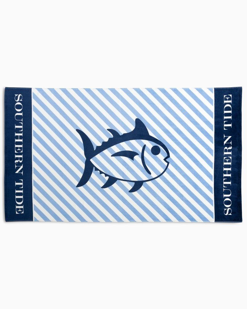 Southern Tide Skipjack Beach Towel Classic White Blue Stripe 8194