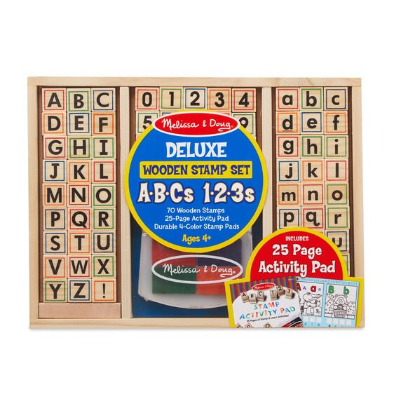 Deluxe Wooden Stamp Set ABCs 123s #30118