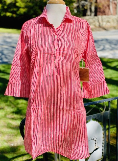 Adaline Pink Cotton Beach Tunic