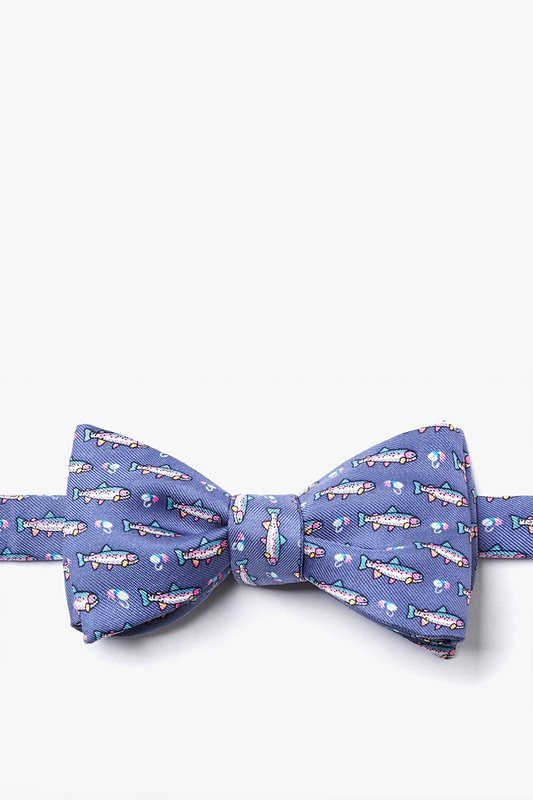 Silk Bow Tie - Trout & Fly Fishing on  Blue