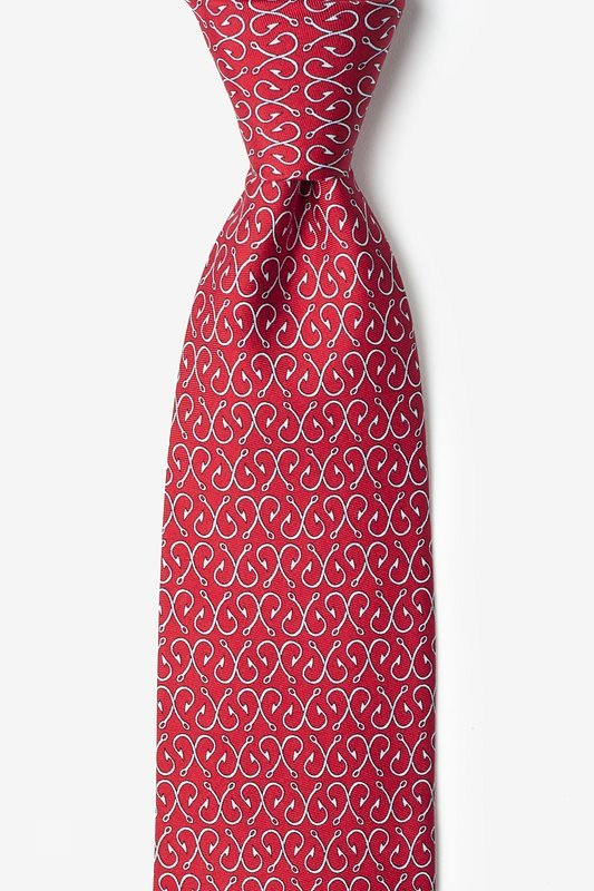 Silk Tie - Fishing Hooks Off The Hook on Red
