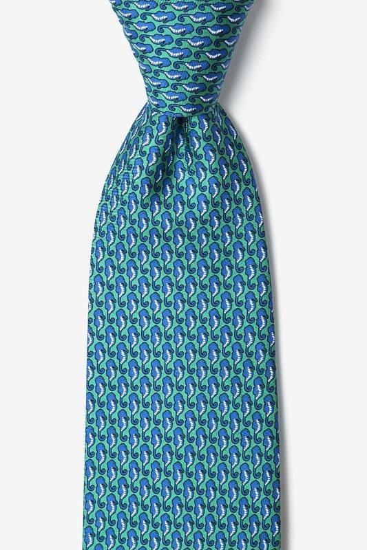 Silk Tie - Micro Seahorse on Blue Green