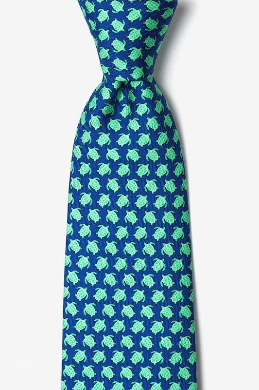 Silk Tie - Micro Sea Turtle on Blue