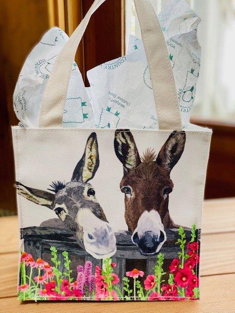 Reusable Cloth Gift Bag - Donkeys