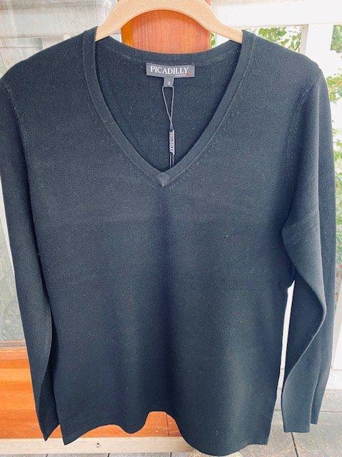Long Sleeve V-Neck Light Sweater Top - Black