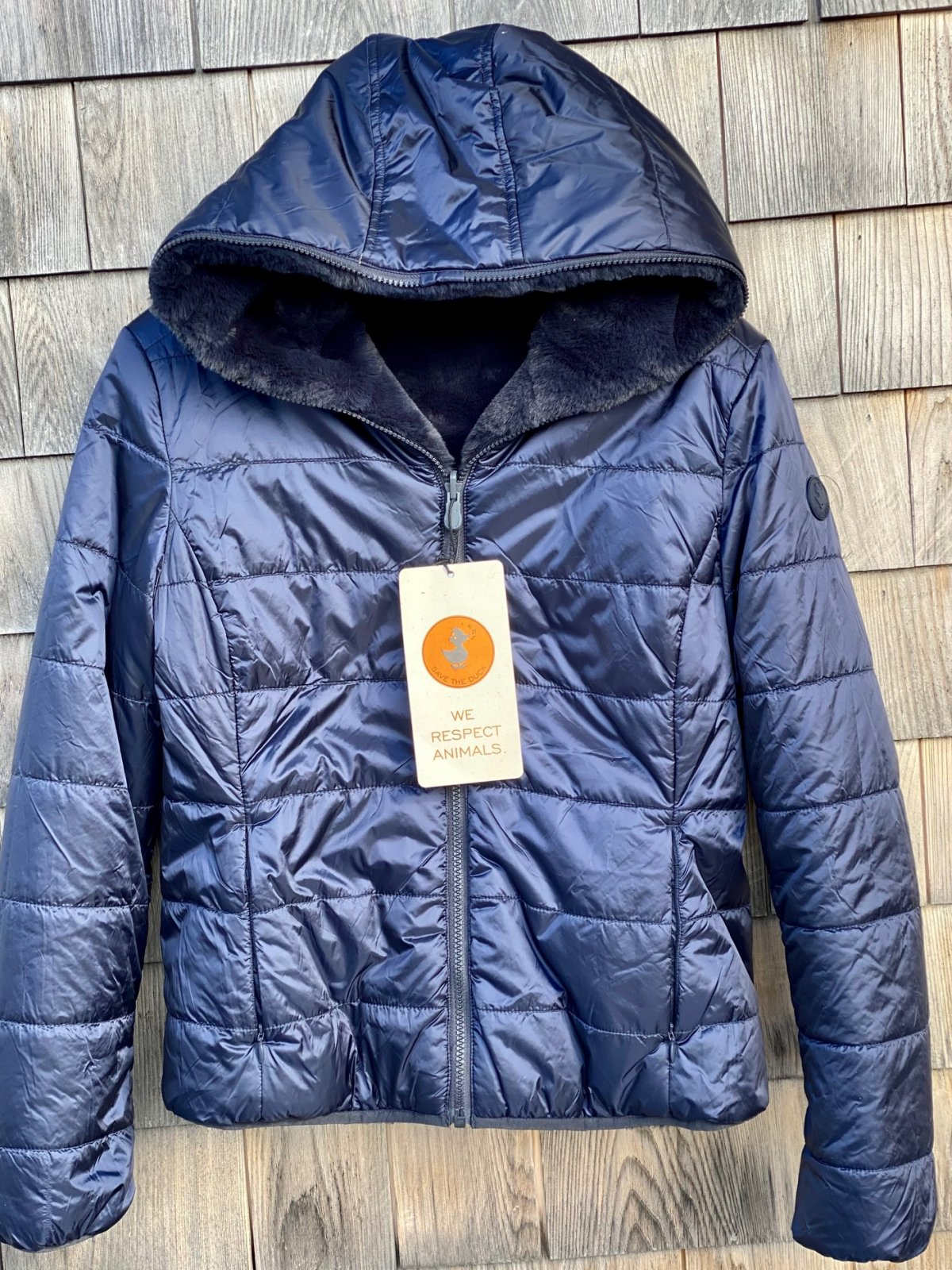 W's Save The Duck Hooded Jacket S3354 FURY Blue Black