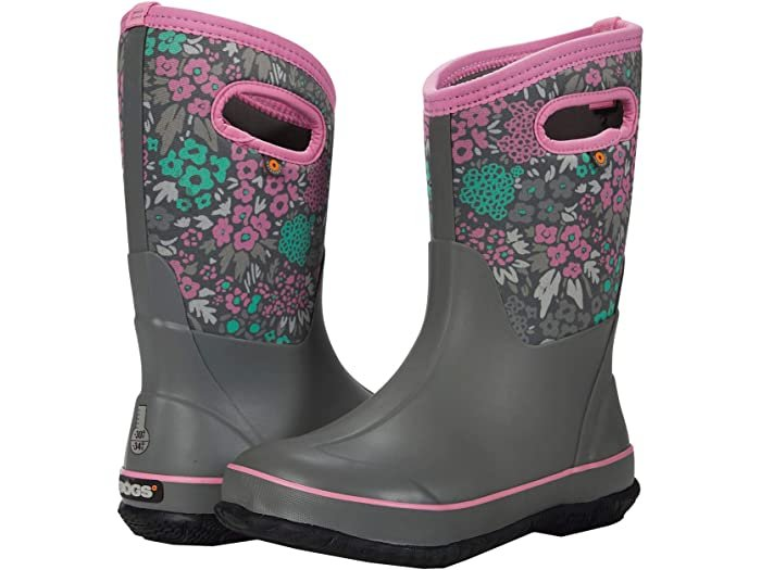 Girls Bogs Classic Waterproof Insulated Boot Floral Grey Multi