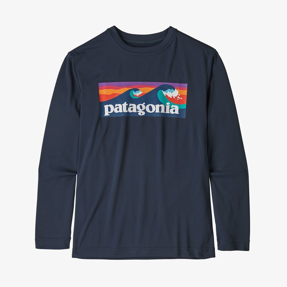 Boy's Patagoina Long Sleeve Capilene T-Shirt in Navy