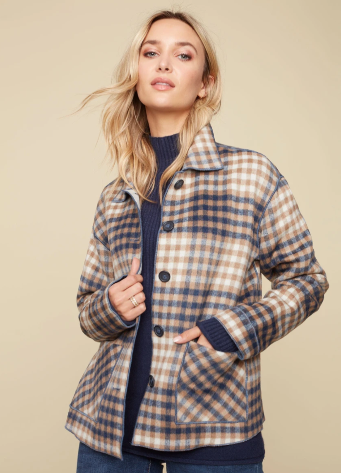 W's Plaid Reversible Jacket by Charlie B - C6185