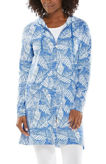 Cabana Zip Hoodie in Riviera Blue Palm by Coolibar