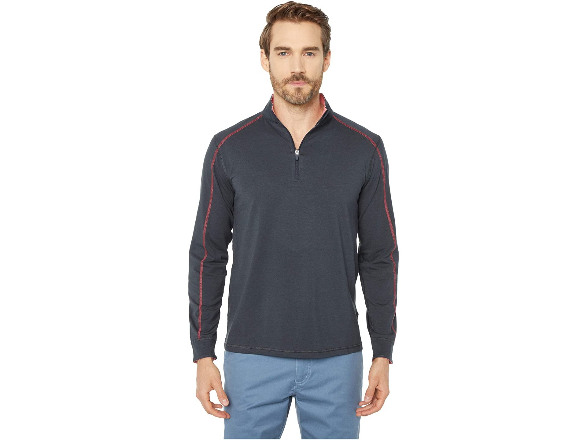 M's Carrollton 1/4 Zip in Red Coral Heather by Tasc