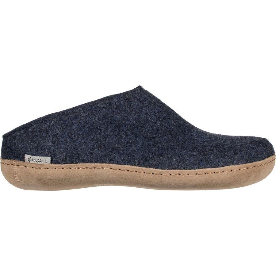 Glerups Unisex Felted Slip-On Slippers Charcoal/Leather