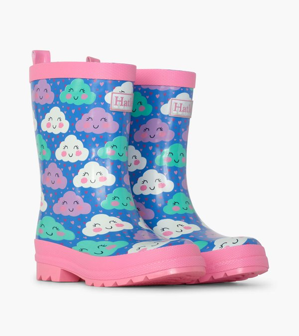 Cheerful Clouds Shiny Rainboots by Hatley