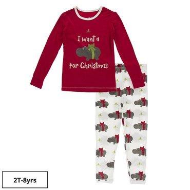 Bamboo Natural Christmas Hippo Pajama Set SALE