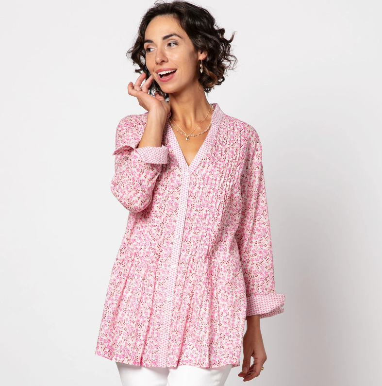 Collette bluCotton Pintuck Tunic in Pink