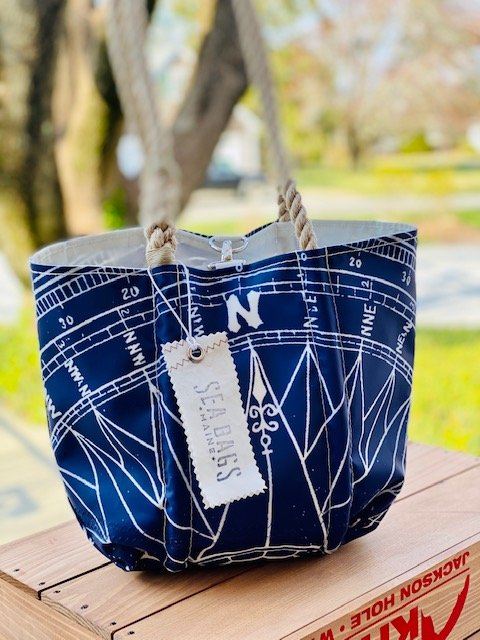 SeaBags Medium Tote with Clasp Navy Compass