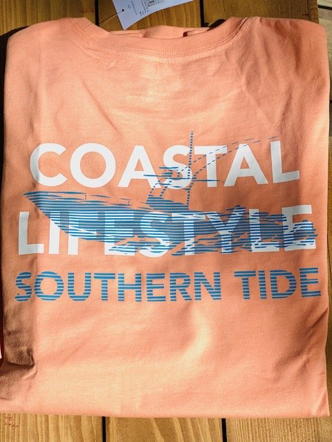 6285 Southern Tide Long Sleeve Center Console Tee Papaya