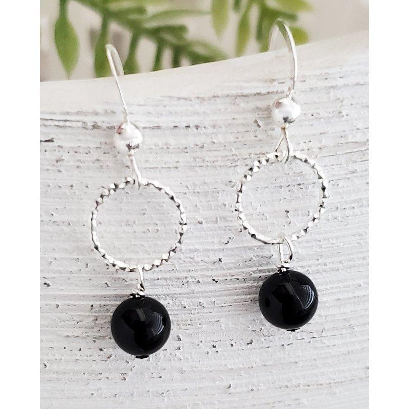 Sterling Silver Silver Hoops Black Crystal Earrings by Sosie Designs #W12