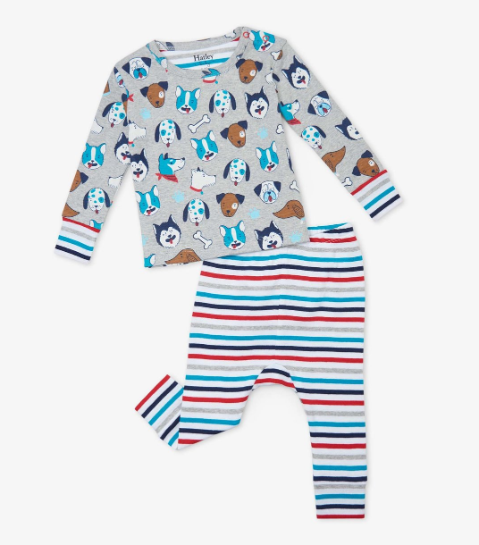 Cute Pups Organic Cotton Baby PJ Set by Hatley