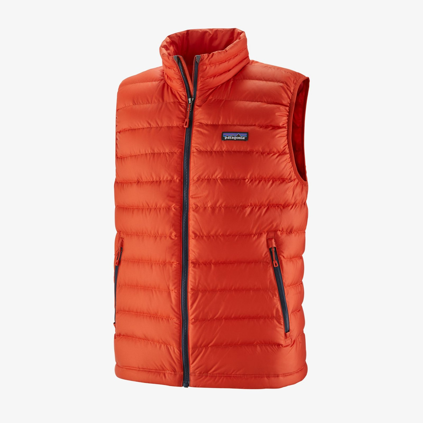 M's Patagonia Down Sweater Vest in Hot Ember