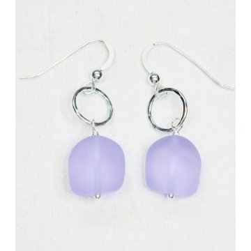 Eco Seaglass with Hammered Ring Earrings by Sosie Designs