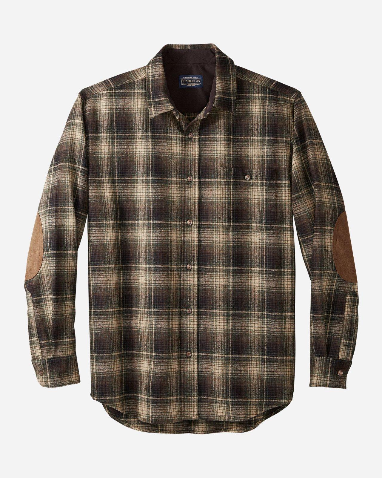M's Pendleton Wool Elbow Patch Trail Shirt - Tan Green Plaid