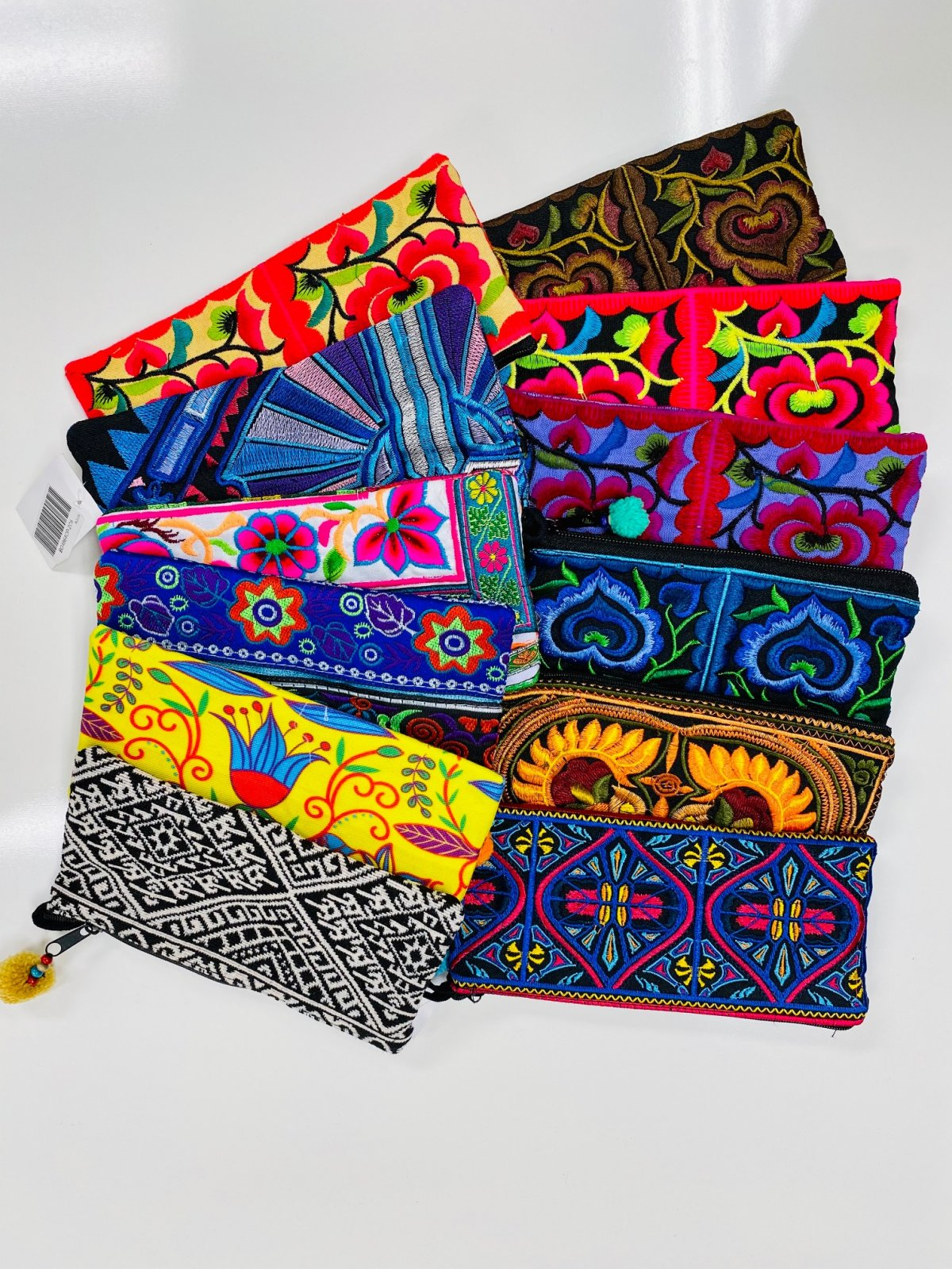Rectangle Embroidered Wristlets - Assorted Bright Colors