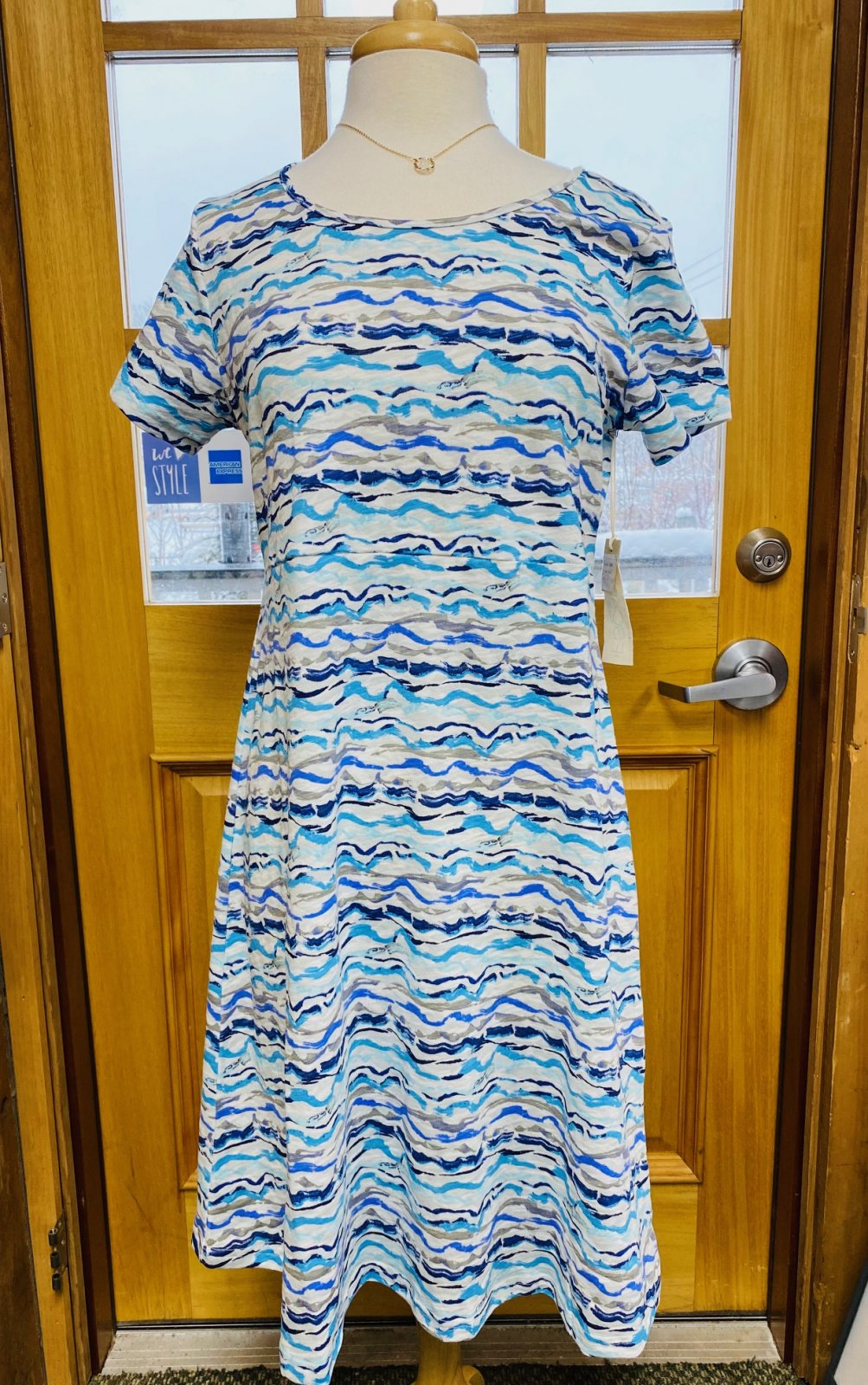 Ride The Wave Short Sleeve Dress in Blue Escape