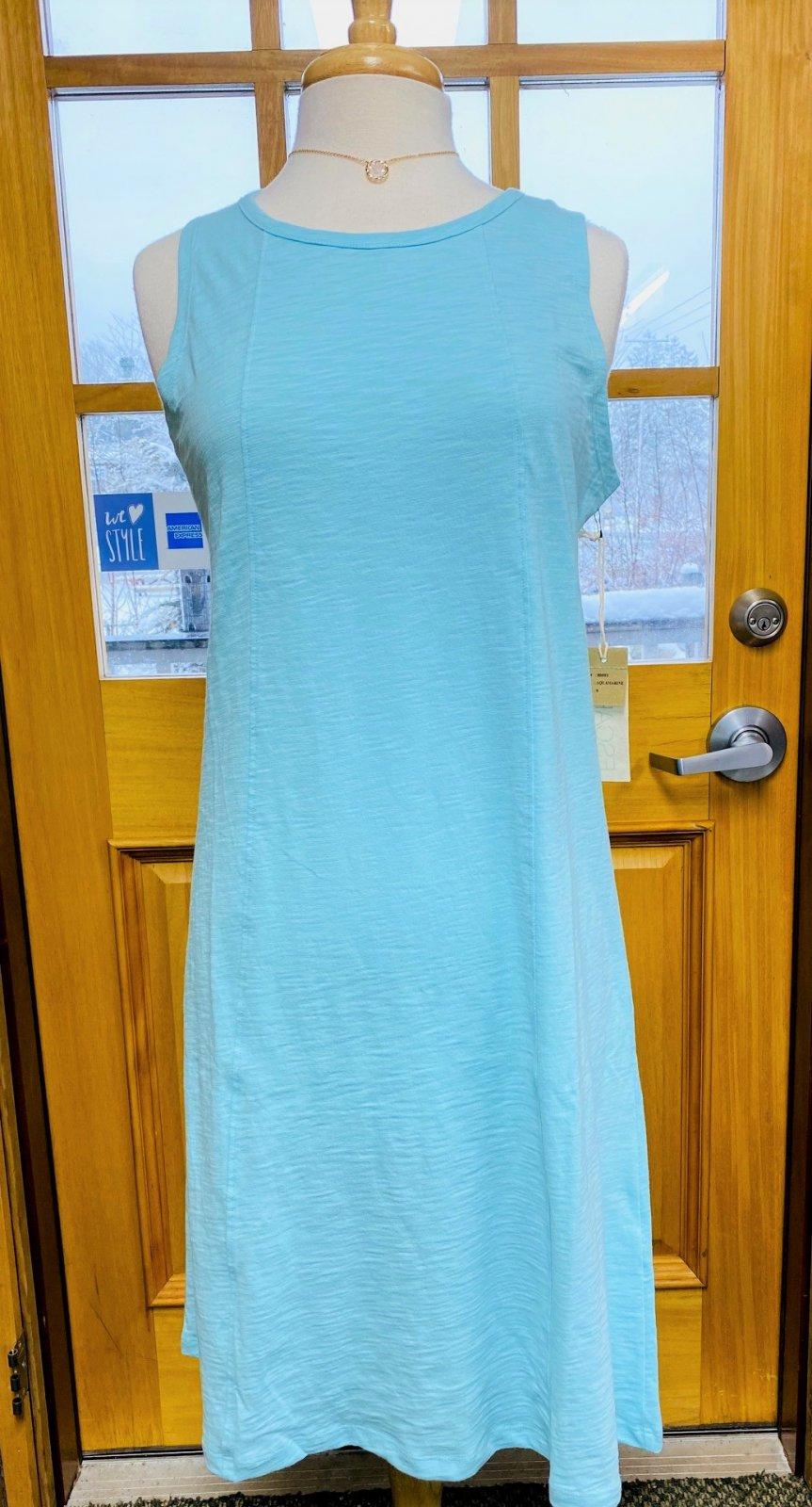 Cotton Slub Seam Tank Dress in Aquamarine by Escape