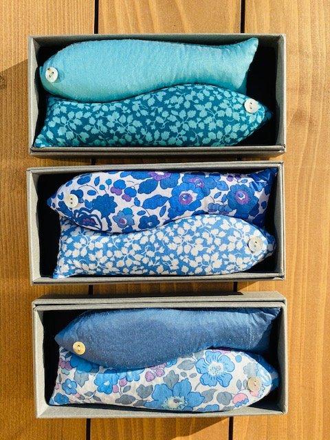 Box of 2 Lavender Fish Sachets (Blues)