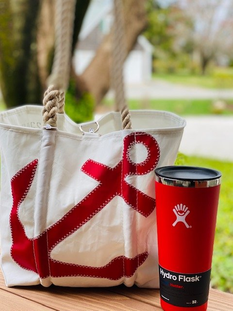 Gift Bundle For Her - Sailcloth Anchor Tote & Hydroflask