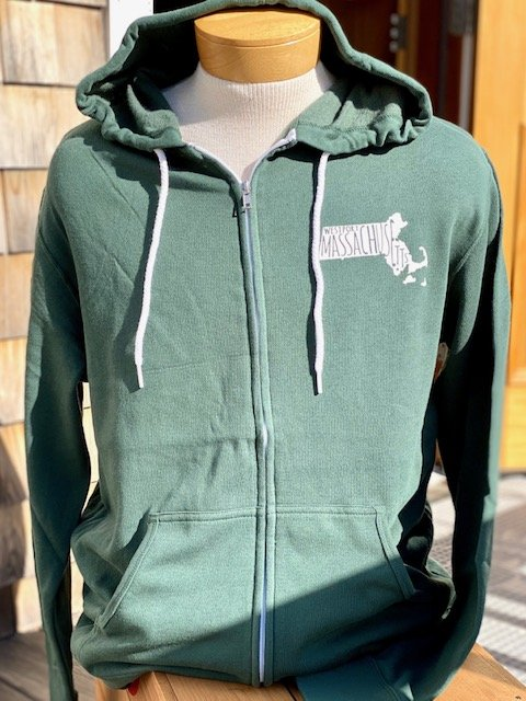 Adult Westport MA State Full Zip Sweatshirt - Alpine Green
