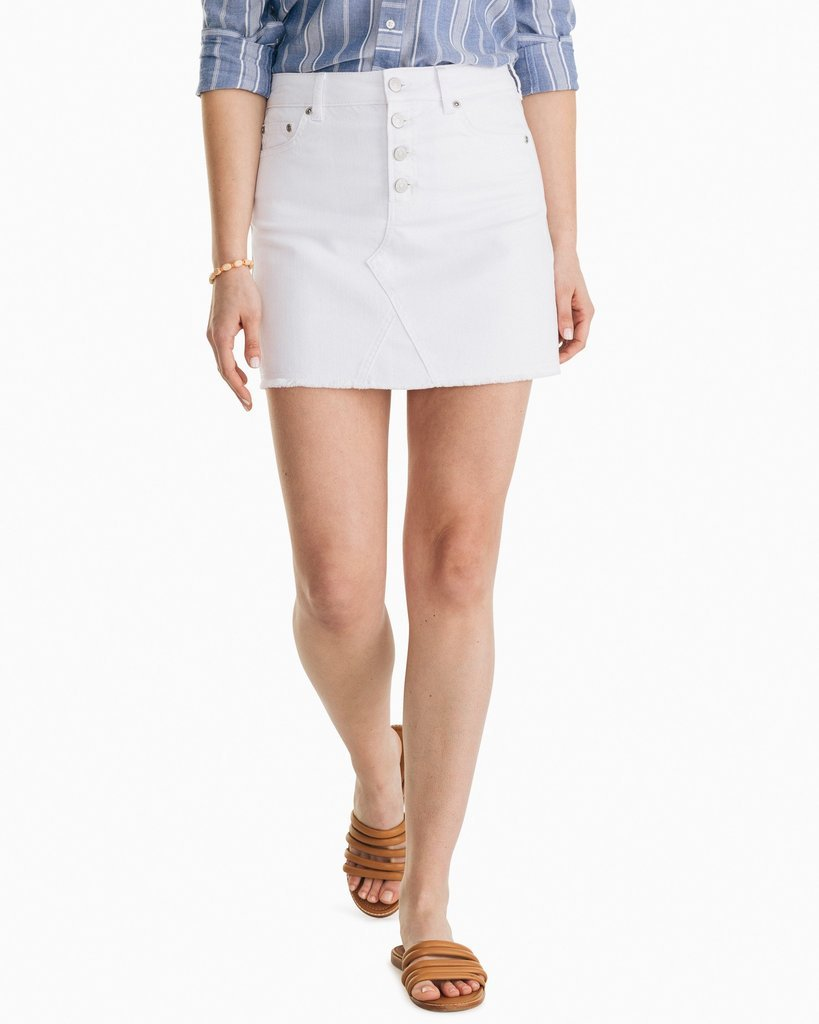 W's Southern Tide Gabriella Denim Skirt 6937 White