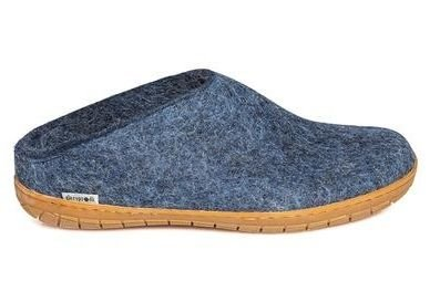 Glerups Unisex Felted Slip-On Slippers Charcoal/Rubber Bottom