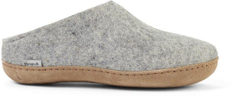 Glerups Unisex Felted Slip-On Slippers Grey/Leather