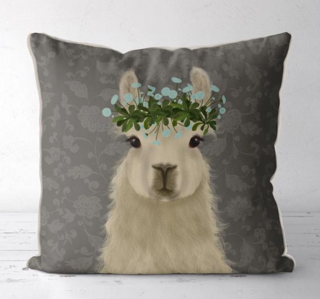 18x18 Decorative Pillow - Llama Grey Background