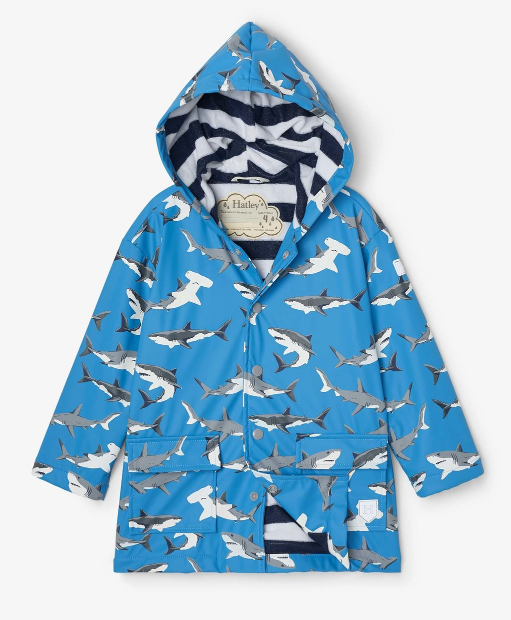 Hatley Deep Sea Sharks Color Changing Raincoat