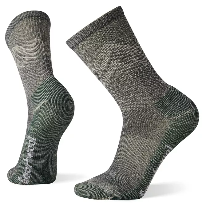 M's Smartwool Hike Classic Light Cushion Mountain Pattern Crew Socks in Charcoal