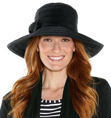 Coolibar Ingrid Ribbon Hat in Black UPF 50+