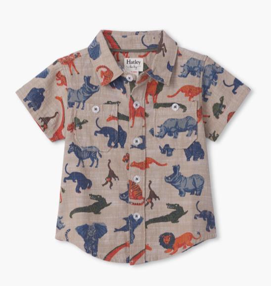 Jungle Safari Baby Button Down Shirt by Hatley