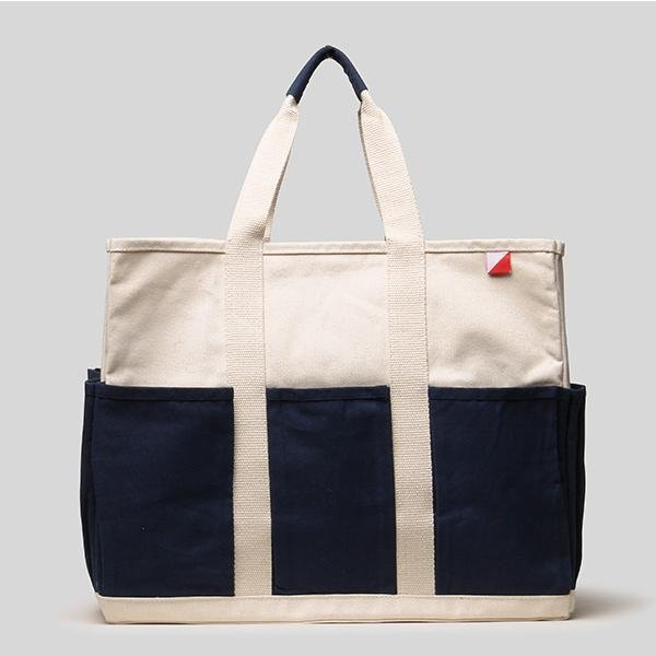 Large Grocery Pocket Tote in Navy & Natural