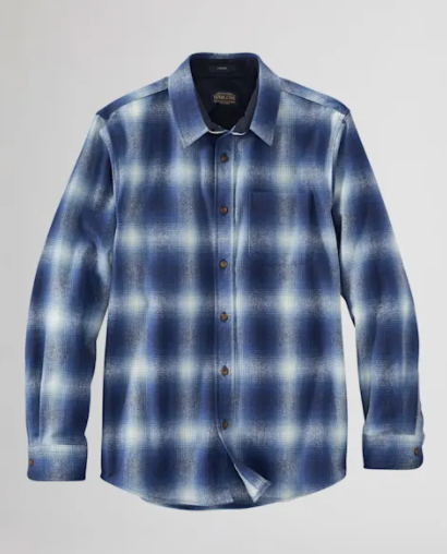 M's Pendleton Lodge Wool Shirt RA643 Blue Ombre Plaid