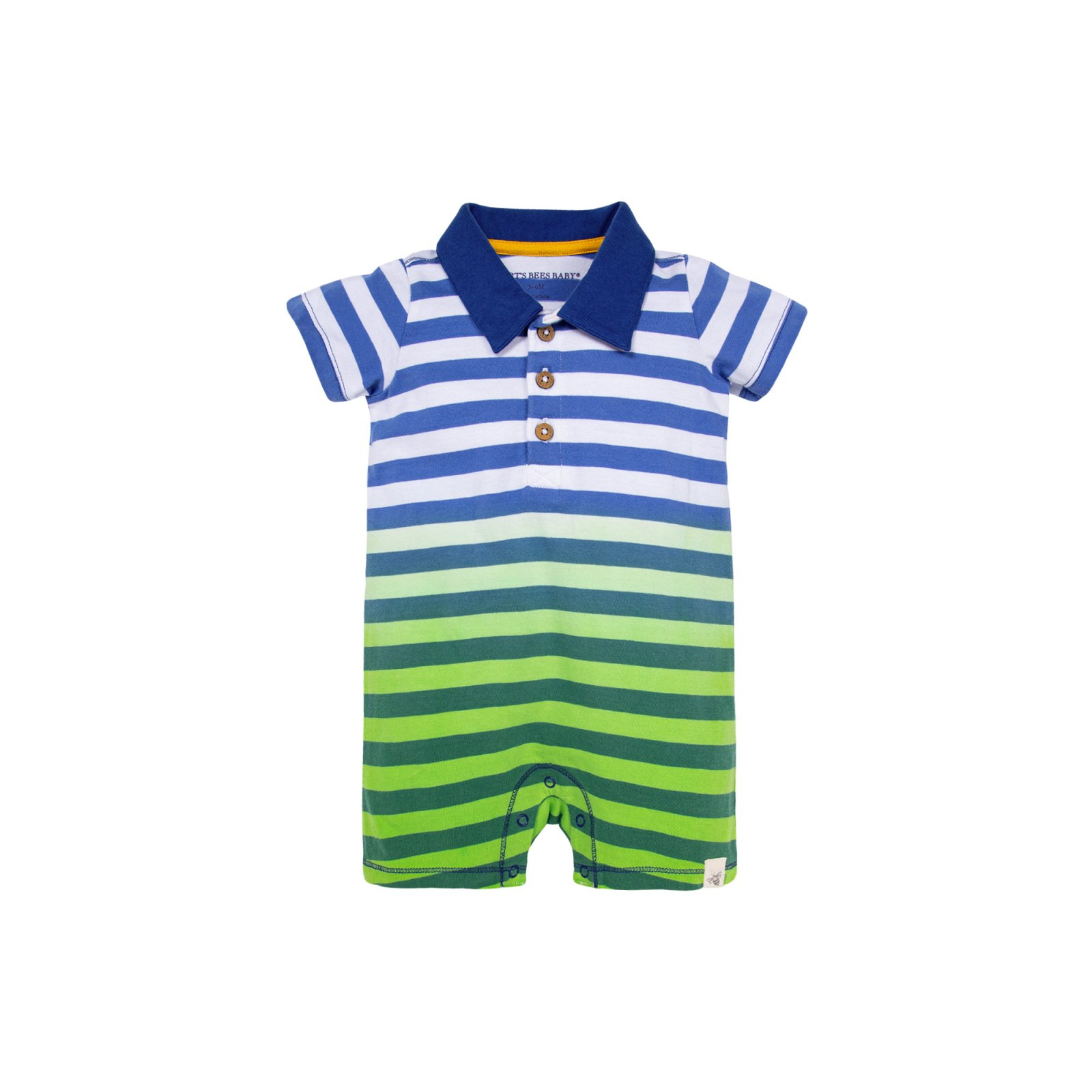 Burts Bees Baby Dip Dye Polo Romper - Parrot LY27578