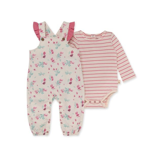 Burts Bees Baby LY28124 Floral Overall and Stripe Bodysuit