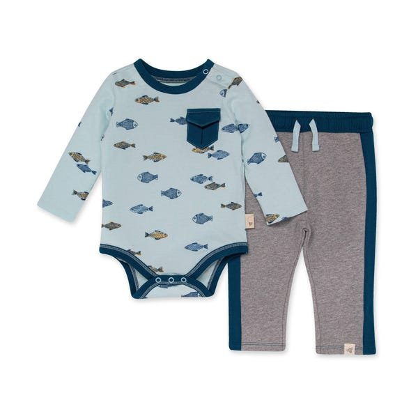 Burts Bees Organic Baby Riverbed Bodysuit & French Terry Pant Set
