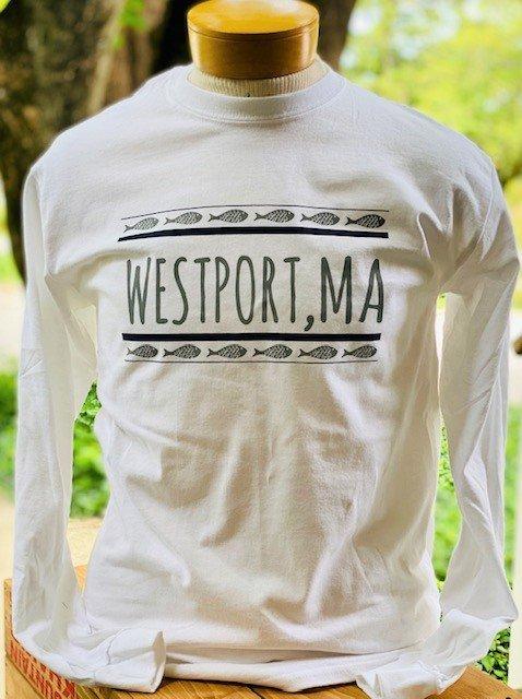 Men's Westport Swimming Fish Long Sleeve Tee White