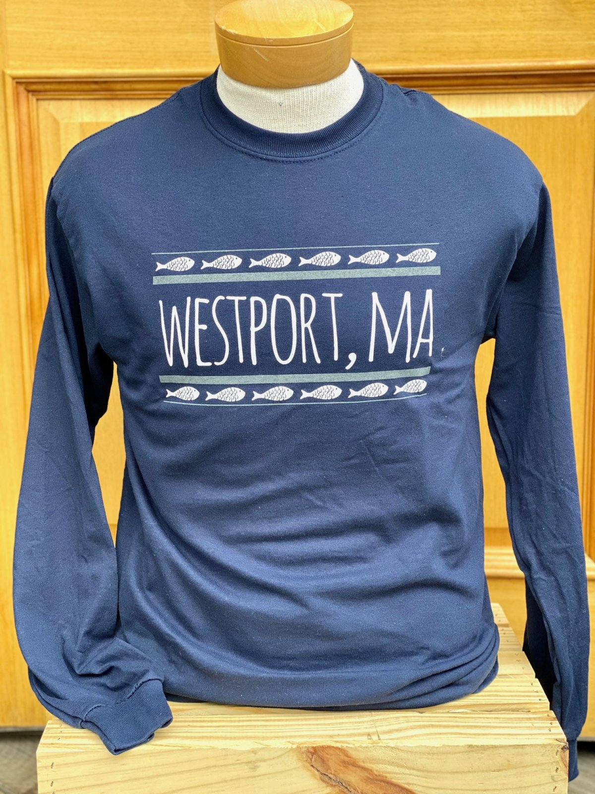 M's Westport L/S  Fish Print Tee in Navy