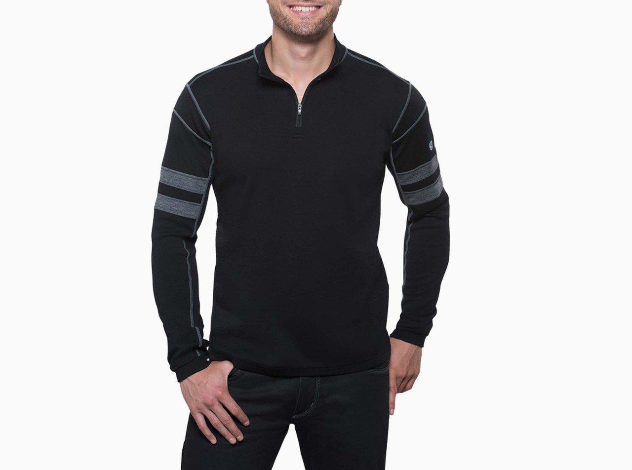 Men's Merino Wool Kuhl Team 1/4 Zip - Black